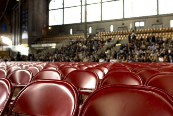 Red seats in an audience
